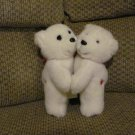 VHTF Vintage 1989 Dakin Hugging Polar Bears Hearts On Tush Red Bows Red Velour Feet Lovey Plush 9""