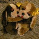 "HTF Vintage 1989 Carousel Animal Fair Hugging Puppy Dogs Yellow Bows Lovey Plush 8"""