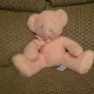 Russ Berrie Baby 9275 Pink Rattles Checkered Bow Teddy Bear Lovey Plush