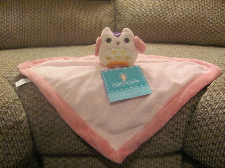 NWT Tiddliwinks Pink Microfleece Owl Security Blanket Lovey Plush