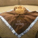 NWT Baby Essentials Lil Monkey Brown Blue Satin Rattles Monkey Security Blanket Lovey Plush