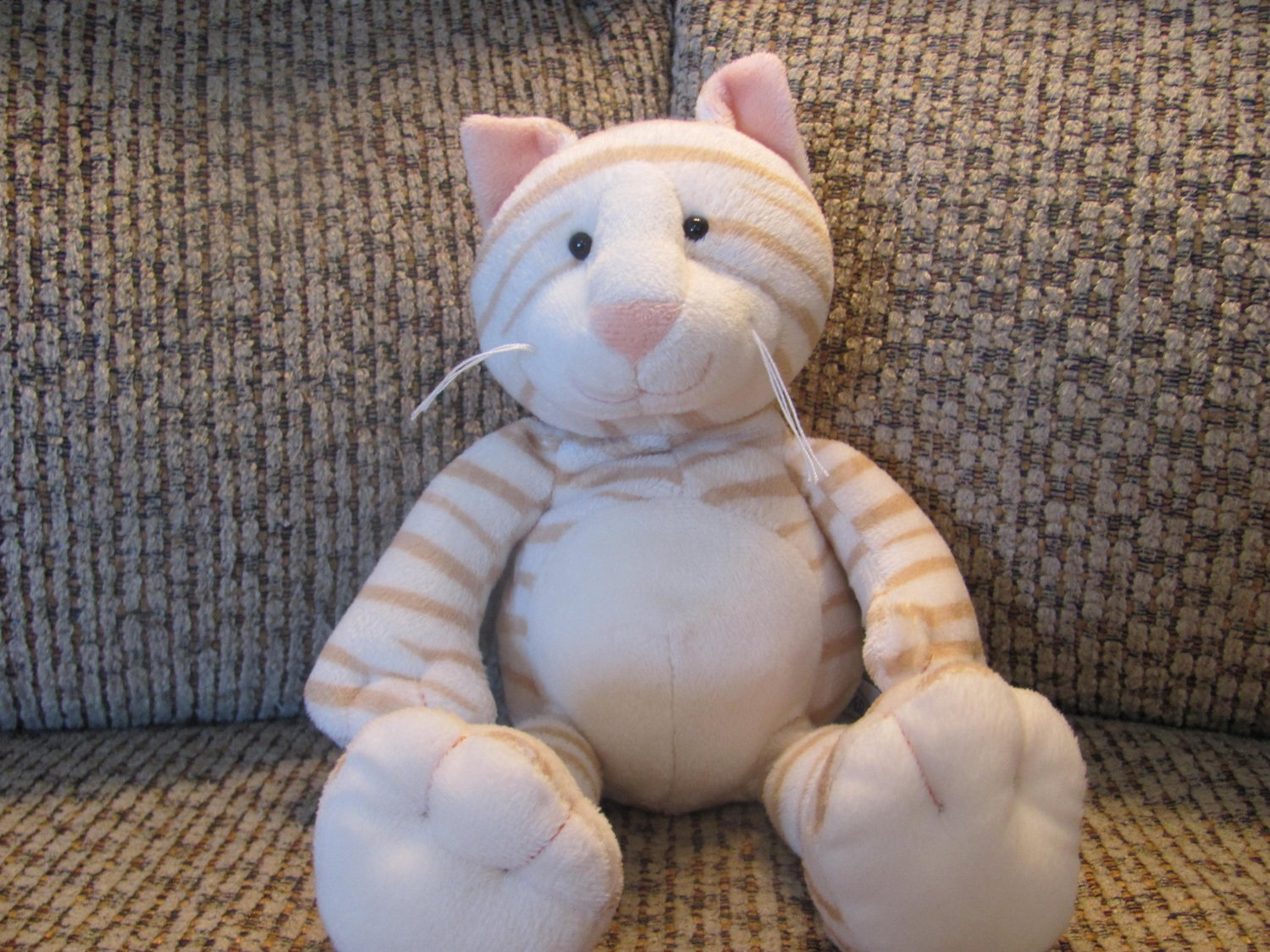 """Mary Meyer Stripped Kitty Cat Peach Nose Lovey Plush 10"""""""