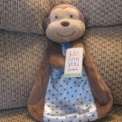 NWT Carters Just One You Rattle Monkey Cuddle Me Blue Polka Dot Security Blanket Lovey Plush