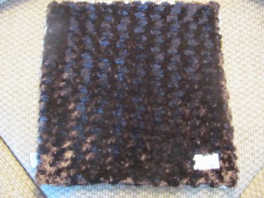 """Whimsical Child Brown Blue Swirls Security Blanket Lovey 16x17"""""""