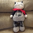 "Jellycat Black Gray White Gingham Corduroy Red Scarf Kitty Cat Lovey Plush 16"""