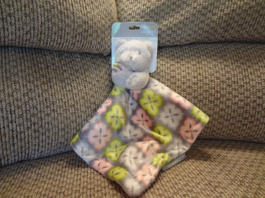 NWT Blankets and Beyond Teddy Bear Pastel Snowflake Gray Security Blanket Lovey Plush