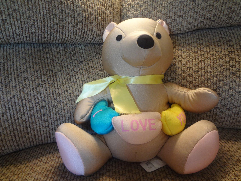 "Moshi By Brentwood Tan I Love You Teddy Bear Microbead Lovey Plush 15"""