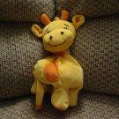 "Snuggle Toy Yellow Orange Giraffe Musical Crib Pull Toy Lovey Plush 9"""