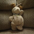 Carters Baby Puppy Dog Puppy Love Crib Pull Toy Musical Plush Brown Green Striped Ribbon 11""