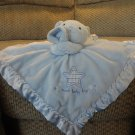 Carters Just One Year Blue Teddy Bear Sweet Baby Boy Rattles Security Blanket 14 x14
