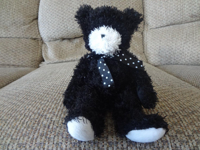 "Douglas The Cuddle Toy Black Teddy Bear Lovey Plush 9"""