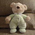 "Carters One Size Green Pajama Teddy Bear Plush White Satin Bow 10"""