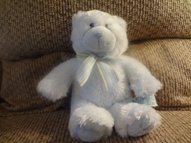Russ Berrie Baby 25912 My First Teddy Blue Stripped Bow Teddy Bear Lovey Plush