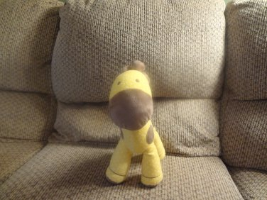 """Carters Just One Year Musical Yellow Brown Spots Giraffe Baby Plush Lovey 11"""""""