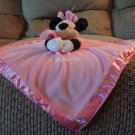 "Disney Baby Black Minnie Mouse Rattles Pink Micro Fleece Security Blanket 12 ""x12.5"""