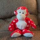 2006 Ty Pluffies Harts Red White Hearts Tylux Monkey Lovey Plush 11""