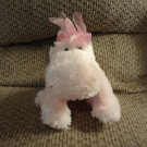 Russ Berrie #29502 Darly Pink White Gingham Bow Hippo Lovey Plush 10""