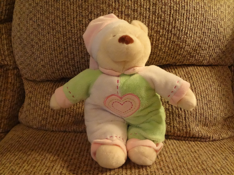 Baby Ganz Bedtime Bear White Green Pink Heart Pajama ...