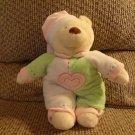 "Baby Ganz Bedtime Bear White Green Pink Heart Pajama Nightcap Rattles Teddy Bear Lovey Plush 11"""