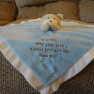 """His Gem Lord Protect Me Teddy Bear Rattles White Blue Security Blanket 14x14"""""""