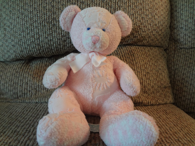 Russ Berrie 2585 Pink Hush A Bye Rattles Teddy Bear Lovey Plush