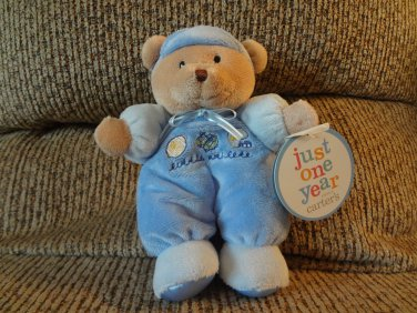 "NWT Carters Just One Year Blue Pajama Little Athlete Teddy Bear Plush Blue Satin Bow 10"""