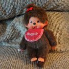Vintage Sekiguchi Europe Holland Monchhichi Girl Pacifier Sucking Red Bib And Bow Monkey Plush 8""