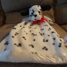 Dakin Dalmation Puppy Dog Black Spotted White Satin Heart Red Satin Bow Security Blanket Lovey