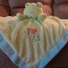 Carters Just One Year Blue Aqua Green Polka Dots Frog I Love Hugs Rattles Security Blanket