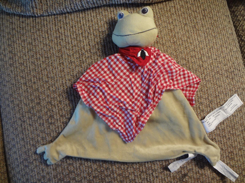 IKEA Fabler Groda Frog Baby Blanket Security Lovey Red Gingham Black Fly