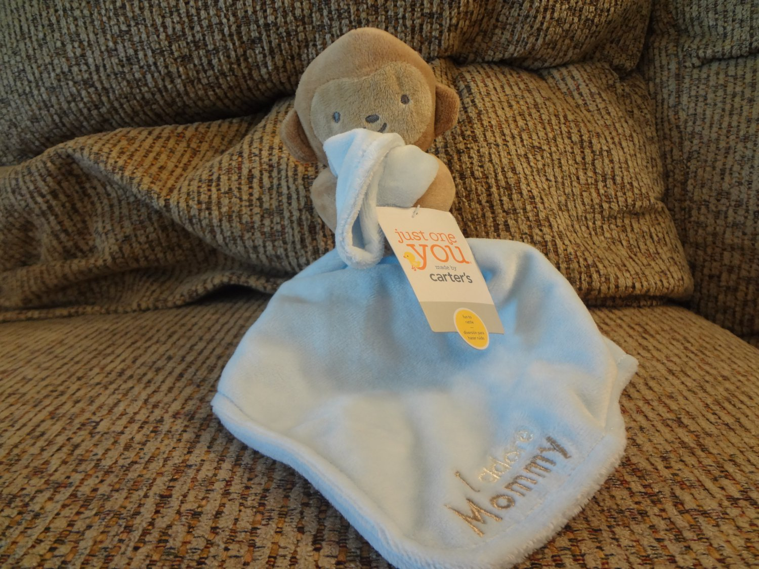 """NWT Carters Just One You I Adore Mommy Monkey Rattles Blue Security Blanket Lovey Plush 9"""""""