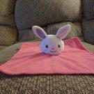 "Danara International Babies 2 Grow Hot Pink White Bunny Rabbit Security Blanket Lovey Plush 10x10"""