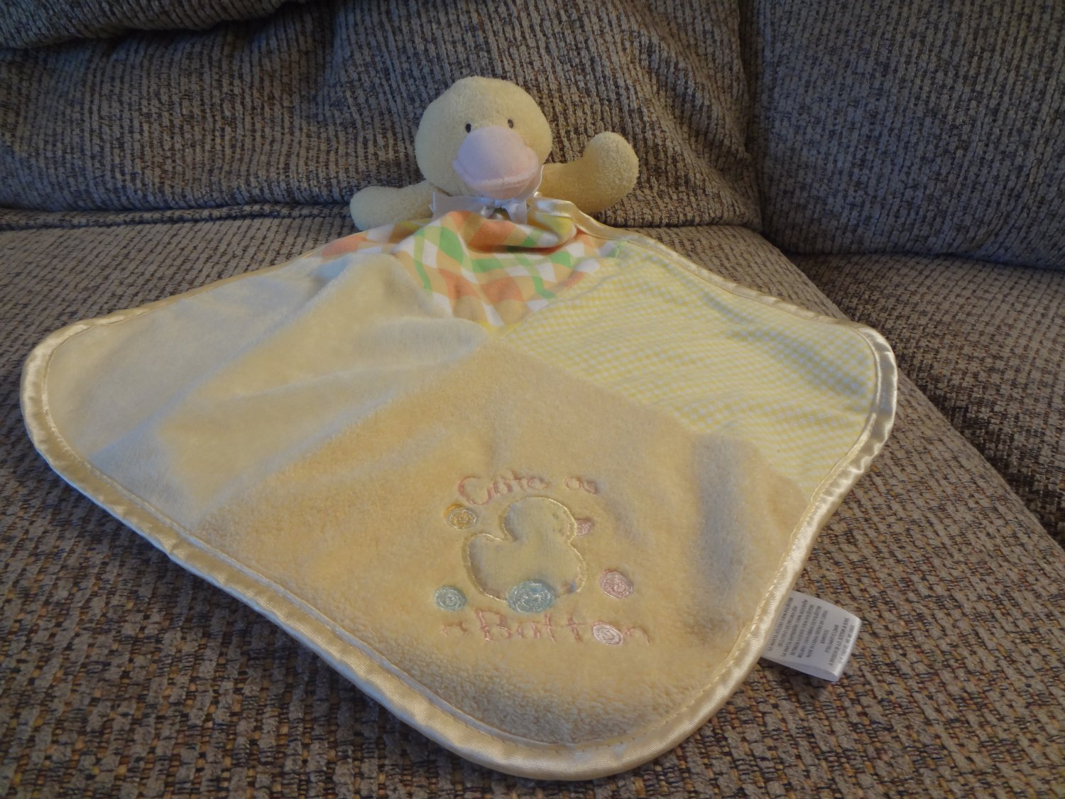 Baby Essentials Cute As A Button Duck Rattles Gingham Plaid Terry Fleece Lovey Security Blanket