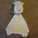 Baby Gear Plush Top Striped Blue Horns Yellow Feet Golden Satin Bow Giraffe Lovey Security Blanket