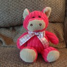 Animal Adventure Hot Pink Wide Corduroy Plaid Satin Bow Fuzzy Soft Pig Plush 10""