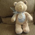 """NWT Baby Gund Bear Tales Collection #58651 Tan Blue Patches Teddy Bear Lovey Plush 14"""""""