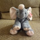 """WT 2002 Ty Pluffies Winks Tylux Elephant Lovey Plush Gray Pink Black Button Eyes 11"""""""