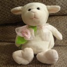 2013 Animal Adventure Soft White Lamb Pink Rosette Lovey Plush 11""