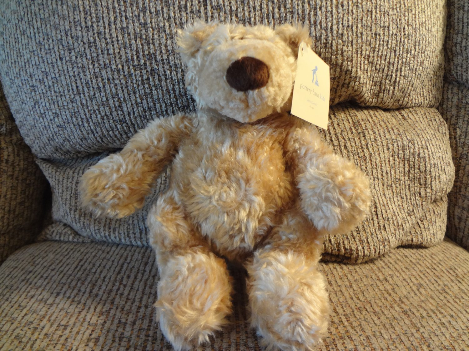 WT Pottery Barn Kids Gund #41334 Clancy Tan Soft Furry Teddy Bear Plush Lovey 11""