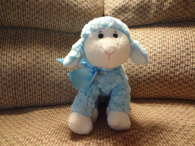 "2008 Animal Adventure #2517 Lovey Soft Blue Fur Pink Nose Lamb Plush 15"""