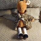 "Jellycat Leopard Print Coat Giraffe #JCINC21 Black Button Eyes Suede Boots Lovey Plush 13"""