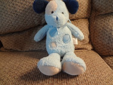 """Carters #7715 Spotted Blue Tan Lovey Rock A Bye Baby Puppy Dog Crib Pull Toy 13"""""""