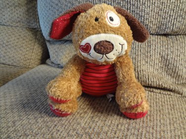 """Mary Meyer Patchwork Red Black Stripes Heart Lovey Brown Cream Puppy Dog  Plush 11"""""""