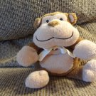 "2005 Baby Adventure Animal Adventure 10"" Brown Tan Lovey Rattles Ribbed Bow Monkey Plush"