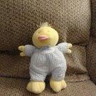 "Eden Blue White Gingham Yellow Duck Pink Bill Lovey Rattles Plush 10"""