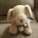 Carters #62452 Tan Short Hair Lovey Blue Gingham Bow Jingle Rattle Puppy Dog Plush 10""
