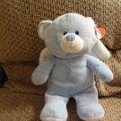 """WT 2011 Ty Pluffies Blue Little Angel White Wings Lovey Teddy Bear Plush 11"""""""