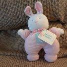 "WT Eden Sweet Shakes Pink Waffle Thermal Satin Ears Rattles Lovey Bunny Rabbit Plush 7"""