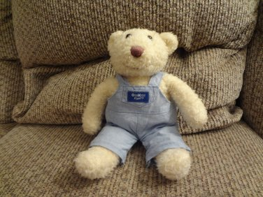 Eden OshKosh B'goshCream Teddy Bear Cloth Overalls lovey Plush 10""