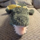 """Mary Meyer Flip Flops Lovey Green White Peach Extremely Relaxed Animals Aligator Plush 17"""""""